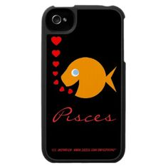 Pisces Custom iPhone Case featuring cute little goldfish makes a fine gift for a girlfriend, wife, mother or grandmother.  Easily replace Pisces with her name.  Or remove all text and just leave cute little goldfish and tiny hearts. #piscean #cute #hearts #goldfish $43.95 Look for moneysaving SALES codes daily at the top of each page at my shop--> http://www.zazzle.com/swisstoons?rf=238575599056059205=zBookmarklet