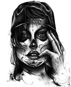 New tattoo girl face art ink 70 ideas - Tattoo Arts Tattoo Girls, Skull Girl Tattoo, Girl Face Tattoo, Sugar Skull Tattoos, Girl Tattoos, Chicano Tattoos, Kunst Tattoos, Chicano Art, Body Art Tattoos