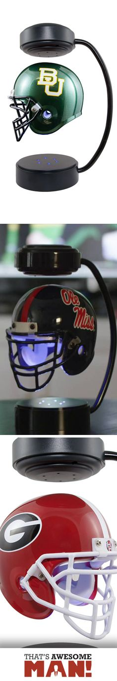 The Hover Helmet is a must have for any college football fan.  The helmet levitates in mid air, while turning slowly.  A great way to show off your team pride, or make your rival supporters jealous!  Check out http://thatsawesomeman.com
