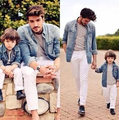 Father and son matching outfits❤️ so cute!!:D
