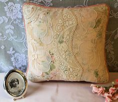 Vintage lace patchwork pillow pink Etsy.