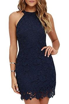 21df60a5dd3 Berydress Womens Halter Neck Wedding Dress Midi Lace Party Cocktail Dress  US14 6010 Navy -- Check