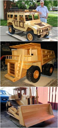 Wood pallet jeep and truck design is best for your garden location. This wood pallet giant jeep and . Repurposed Furniture, Pallet Furniture, Woodworking Plans, Woodworking Projects, Pallet House, Truck Design, Kids Wood, Wooden Pallets, Recycled Wood