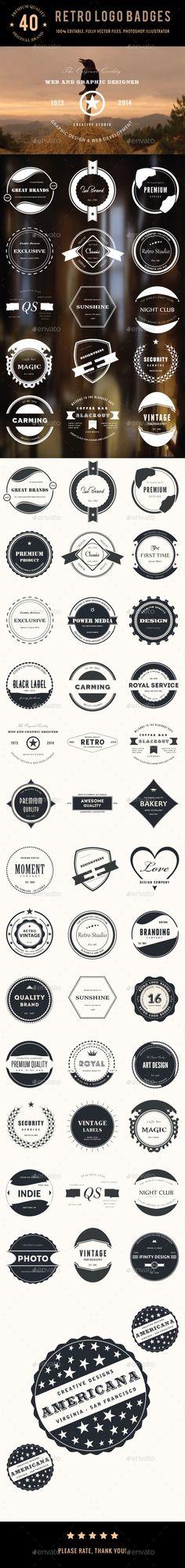 Bundle - 40 Retro Logo Badges - Badges & Stickers Web Elements