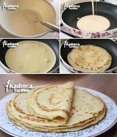 ✿ ❤ ♨ Krep Yapılışı Tarifi / Malzemeler: 2 adet yumurta, 2 buçuk çay bardağı su, 1 su bardağı süt, 2 su bardağı un, 1 çay kaşığı tuz. Pişirmek için; Sıvı yağ.
