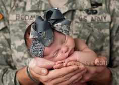 #army #baby #military love the bow!