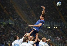 France's Alexandre Flanquart jumps for a line during their Six Nations Rugby Union match against Italy at the Olympic stadium in Rome, Italy March 15, 2015. REUTERS/Stefano Rellandini