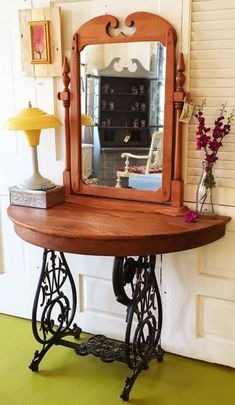 Product Description Vintage Sewing Base Oak Table Vanity Mashup What happens when you combine a unique singer sewing machine base, a half round oak table and a vintage dresser mirror? A rock star vani Repurposed Furniture, Rustic Furniture, Vintage Furniture, Painted Furniture, Diy Furniture, Furniture Vanity, Furniture Showroom, Outdoor Furniture, Sewing Machine Tables