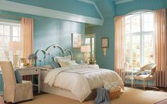 Walls and Ceiling: Relaxation Moldings and Trim: Gentle Breeze Accents: Vanilla Chai Milky Way Chalk Relaxing Bedroom Colors, Bedroom Paint Colors, Living Room Color Schemes, Colour Schemes, Color Palettes, Favorite Paint Colors, Moldings And Trim, Bedroom Accessories, Awesome Bedrooms
