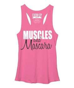 Chin Up Apparel Heather Pink Muscles & Mascara Racerback Tank | zulily