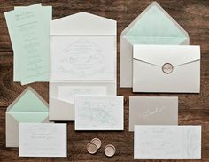 Lovely mint and khaki Invitation set by Paper Tiger Press. #weddinginvitation #invitation #stationery #mint