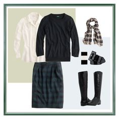 """""""Blackwatch Plaid Skirt"""" by mrsmcbrown ❤ liked on Polyvore featuring J.Crew and Corso Como"""