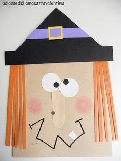 La classe della maestra Valentina Could have some fun with this. Cut out shapes and let kids design their own witch Theme Halloween, Halloween 2017, Holidays Halloween, Halloween Decorations, Christmas Decorations, Halloween Crafts For Kids, Halloween Activities, Craft Activities For Kids, Holiday Crafts