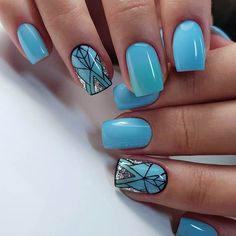 Blue nails with a picture, Christmas nails, Festive nails, January nails, Unusual nails Teal Nails, Silver Glitter Nails, Hot Pink Nails, Pink Nail Art, Glitter Nail Art, Green Nails, Cool Nail Art, Nails Turquoise, Nail Art Design Gallery