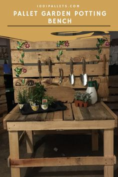 Pallet Garden Potting Bench, Planter & Chair This is my first ever time making anything from a wood Pallet Potting Bench, Pallet Garden Benches, Pallet Chairs, Pallet Planters, Pallet Gardening, Pallet Couch, Pallet Tables, Pallet Bar, Outdoor Pallet