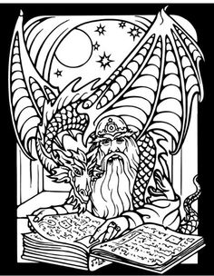 Dover Publications free sample coloring page Wizards