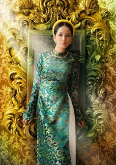 """Quick! Which country is the most hijab friendly in East Asia? Malaysia? Nope. Indonesia? Try again. China? Not even close. To my surprise, it's Vietnam! Áo Dài, the national dress of Vietnam actually means a """"long dress."""" I love the green color with gold designs. Proof that hijab looks beautiful on every woman, not just the Muslimah. - Habiba West"""