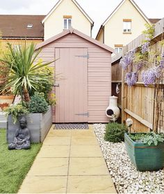 Ideas for Backyard Sheds . Ideas for Backyard Sheds . Blush Pink Garden Shed Newbuild Design with Images Painted Garden Sheds, Painted Shed, Painted Garden Furniture, Backyard Sheds, Backyard Landscaping, Shed Patio Ideas, Fence Ideas, Pink Garden, Shade Garden