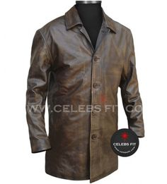 Brown #Distressed #Supernatural Leather Jacket from CelebsFit. Order now #RealLeather #DeanWinchester #Coat from our trustworthy #onlineshopping store.