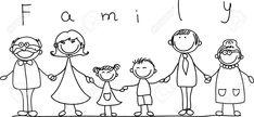 Familia Feliz La Mano Y Sonriendo Ilustraciones Vectoriales, Clip Art Vectorizado Libre De Derechos. Pic 11325494.