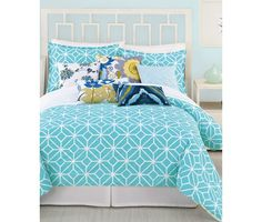 CLOSEOUT! Trina Turk Trellis Turquoise Comforter and Duvet Cover Sets - Closeouts - Bed & Bath - Macy's