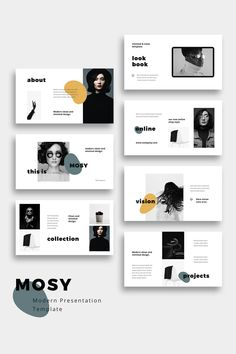 MOSY - Modern and Simple Powerpoint Presentation TemplateClean, modern and simple Powerpoint Template. This clean and creative layout gives you many Ppt Design, Design Brochure, Design Poster, Slide Design, Book Design, Design Portfolio Layout, Page Layout Design, Design Portfolios, Presentation Design Template