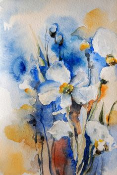 Watercolor Painting Art Print - Abstract Flowers- Blue Orange - Modern - Wall Art - Watercolor Art