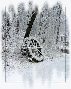 Snowy Photograph Winter Wheel fresh fallen snow by KralsClicks, $8.00