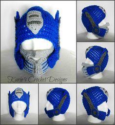 Transformers Optimus Prime , Photo Prop, Handmade Crochet Hat Beanie. $24.99, via Etsy.