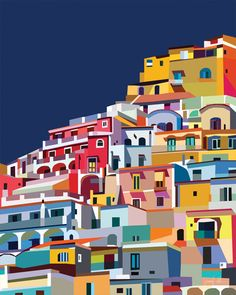 "Positano Italy printable art Amalfi coast print Colorful wall USE THE CODE ""HUNKYDORY"" TO RECEIVE 30% OFF!"