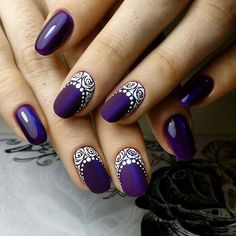Purple Christmas Nail Art Designs Ideas For Winter Purple nail art looks great on long nails. Especially purple shades help out owners of extended nails Elegant Nail Designs, Elegant Nails, Beautiful Nail Designs, Beautiful Nail Art, Hair And Nails, My Nails, Nail Manicure, Nail Polish, Nails 2017