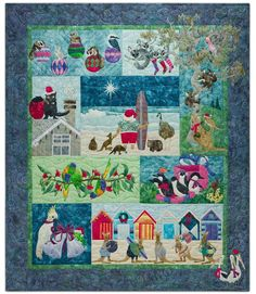 """""""Santa and Friends"""" by Margaret Vinning. Quilted by Helen Smith. Australian Christmas: Chrissy Down Under design by McKenna Ryan. Aussie Christmas, Australian Christmas, Summer Christmas, Christmas Ideas, Christmas Blocks, Cute Hippo, Applique Quilt Patterns, Applique Cushions, Cake Topper Tutorial"""