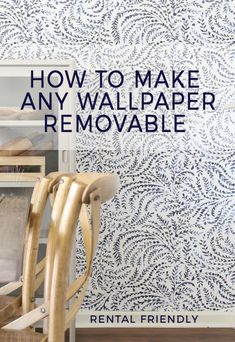 How to Make Any Wallpaper Removeable - Removable Wallpaper Hack # DIY Home Decor rental How to Make Any Wallpaper Removeable - Removable Wallpaper Hack How To Hang Wallpaper, Diy Wallpaper, Hanging Wallpaper, Painting Over Wallpaper, Wallpaper Backgrounds, Rental Decorating, Decorating Tips, Cheap Home Decor, Fractions