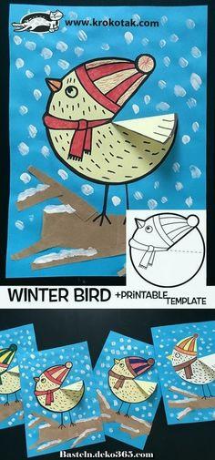 Winter bird crafts for kids children ideas Kids Crafts, Winter Crafts For Kids, Winter Kids, Toddler Crafts, Art For Kids, Kindergarten Art, Preschool Crafts, Free Preschool, Preschool Printables