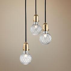 "Hudson Valley Marlow 10""W Brass Multi-Light Glass Pendant"