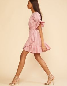 Full back view of the polished cotton ruffle wrap dress