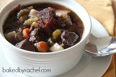 Slow Cooker Beef Bourguignon Soup, replace wine with broth and add mushrooms.  Lots of mushrooms.