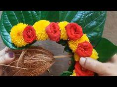 Eco Friendly Ganpati Decoration, Ganpati Decoration Design, Diwali Decoration Items, Thali Decoration Ideas, Diwali Decorations At Home, Festival Decorations, Flower Garland Wedding, Flower Garlands, Flower Decorations