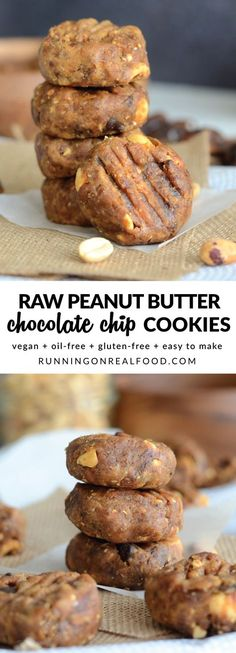These Raw Peanut Butter Chocolate Chip Cookies take just minutes to make and taste just like raw cookie dough! Make them your own by switching up the nut butter and the add-ins. How about tahini cranberry cookies, almond butter chocolate chip or sunflower seed butter dark chocolate!! Vegan, oil-free, GF, no baking required! Recipe: http://runningonrealfood.com/raw-peanut-butter-chocolate-chip-cookies/