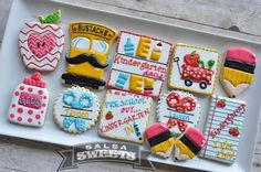 Party Decorations How To Make Referral: 8476816922 Cute Cookies, Sugar Cookies, Retirement Countdown, Retirement Planning, School Themes, How To Treat Acne, Teacher Appreciation, Cookie Decorating, Salsa