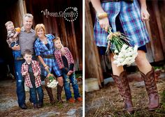 Love the fresh flowers for mom Cute family pose - plaid rustic barn