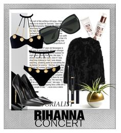 """""""Hot Ticket Rihanna Concert"""" by fashionkingny ❤ liked on Polyvore featuring Tom Ford, Bare Escentuals, Agent Provocateur, MANGO, Yves Saint Laurent and Polaroid"""
