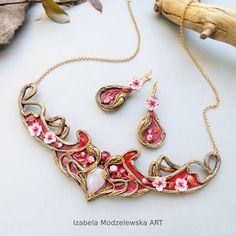 Spring Tree, Polymer Clay, Handmade Jewelry, Bracelets, Earrings, Pink, Art, Ear Rings, Art Background