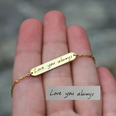 Handwriting Bracelet, Keepsake, Memorial Jewelry, Actual Writing... ($32) ❤ liked on Polyvore featuring jewelry, bracelets, engraved jewelry and engraved bangle