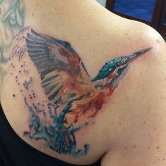 Beautiful watercolour kingfisher done by Claire Jackson at Artium Ink studio in Exeter UK Book Tattoo, I Tattoo, Kingfisher Tattoo, Watercolor Tattoo, Watercolour, Bird Art, Henna, Tatting, Illustration Art