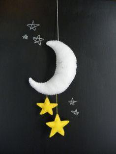 Mobile lune et étoiles tissus