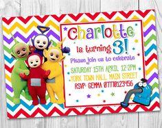 Teletubbies TV CBeebies Personalised Party Invitations Kids Birthday Invites Printable Digital Jpeg File