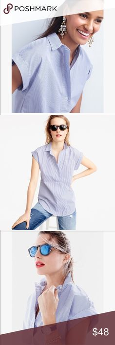 """Short-sleeve popover in shirting stripe Excellent condition: just wrinkled.The perfect shirt for work and the weekend... We love those flattering cuffed cap sleeves too.  Cotton. Button placket. 28"""" length J. Crew Tops Blouses"""