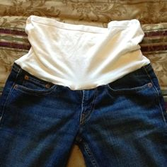 Homemade Maternity Pants (cut waist/zipper off jeans add bottom half of unused cami and sew together)