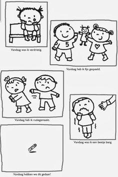 Gevoelsprenten: Blij - Bang - Boos - Verdrietig Zo voelde ik mij vandaag: Gevoelens: Meisje en jongen Manieren: Teaching Emotions, Feelings And Emotions, Visual Cue, Colouring Pics, Listening Skills, Les Sentiments, Language Activities, Play Therapy, Social Skills